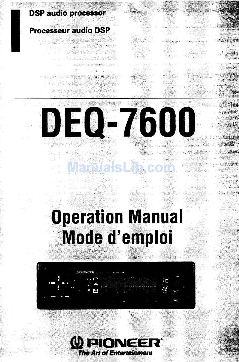 PIONEER DEQ 7600 - EQUALIZER / CROSSOVER OPERATION MANUAL Pdf Download    ManualsLibManualsLib