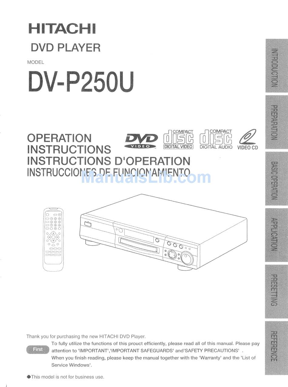 Hitachi Dv P250u Operating Instructions Manual Pdf Download Manualslib