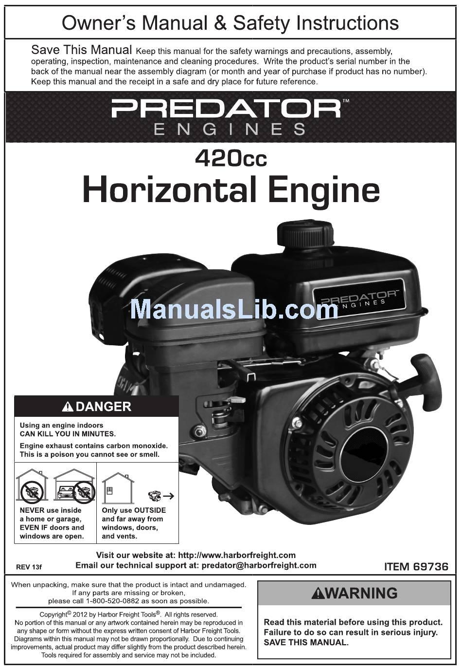 PREDATOR ENGINES 420CC OWNER'S MANUAL & SAFETY INSTRUCTIONS Pdf Download    ManualsLibManualsLib