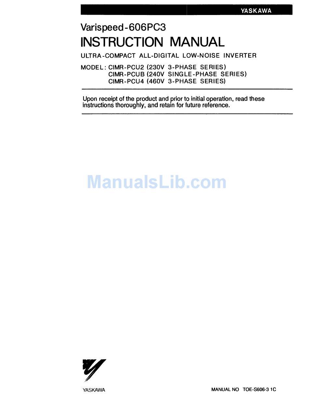 Yaskawa Varispeed 606pc3 Instruction Manual Pdf Download Manualslib