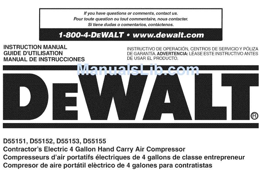 dewalt d55151 instruction manual pdf download   manualslib  manualslib