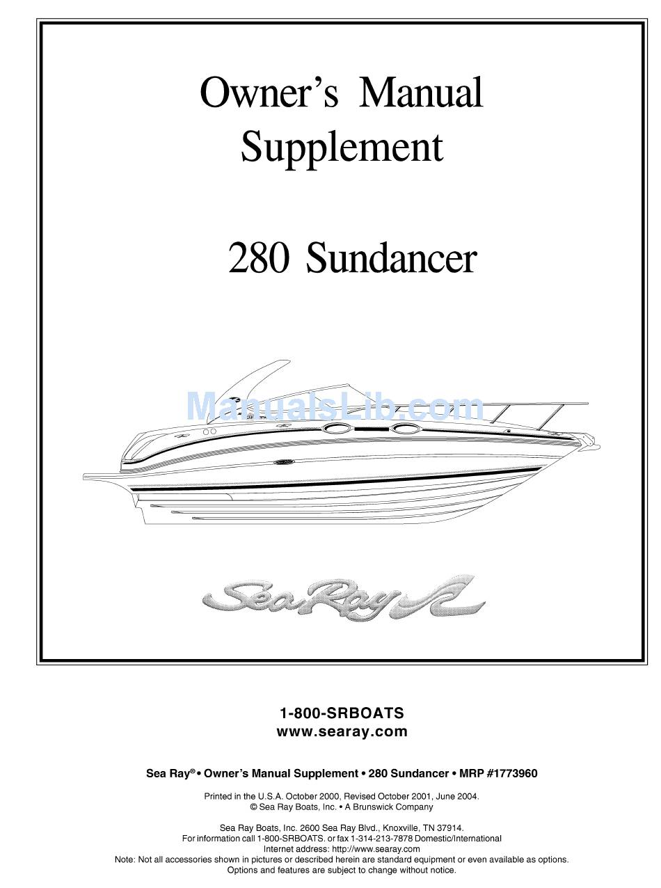 sea ray 280 sundancer owner's manual pdf download | manualslib  manualslib