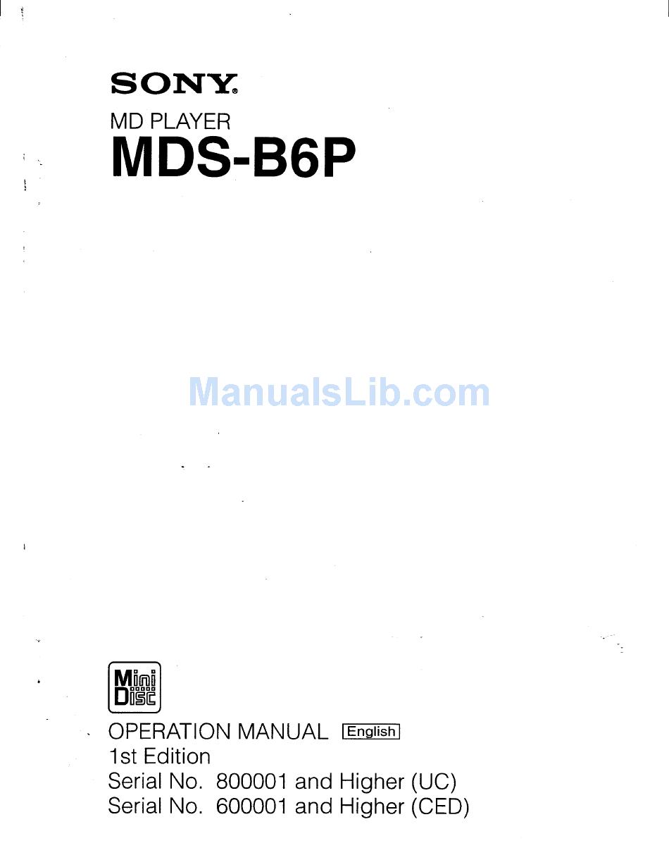 Sony MDS-JB930 Minidisc Player Recorder  Operating Instruction USER MANUAL