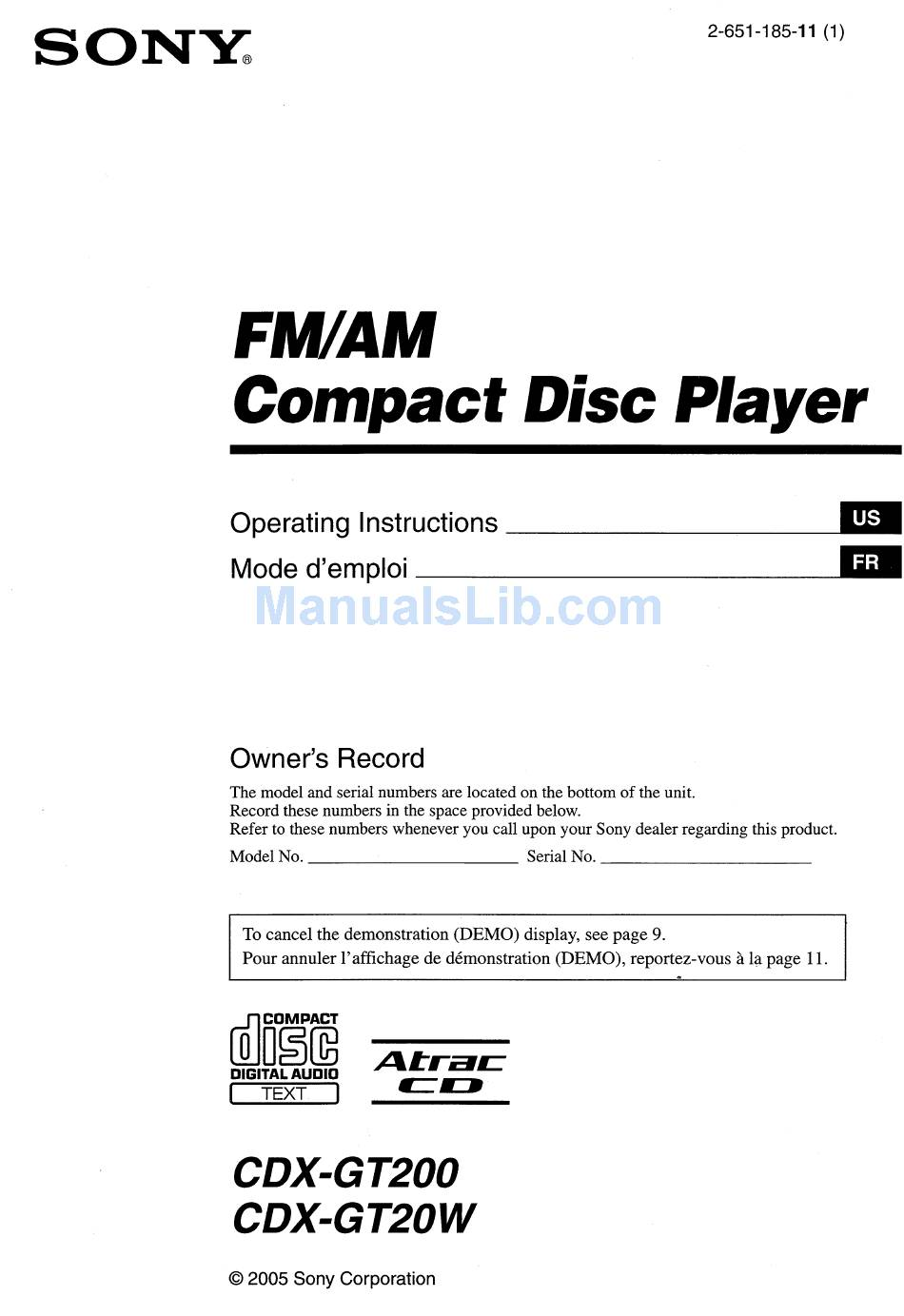 Sony Cdx Gt200 Operating Instructions Manual Pdf Download Manualslib