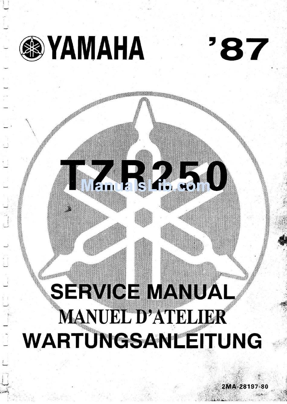Yamaha Tzr250 1987 Service Manual Pdf Download Manualslib