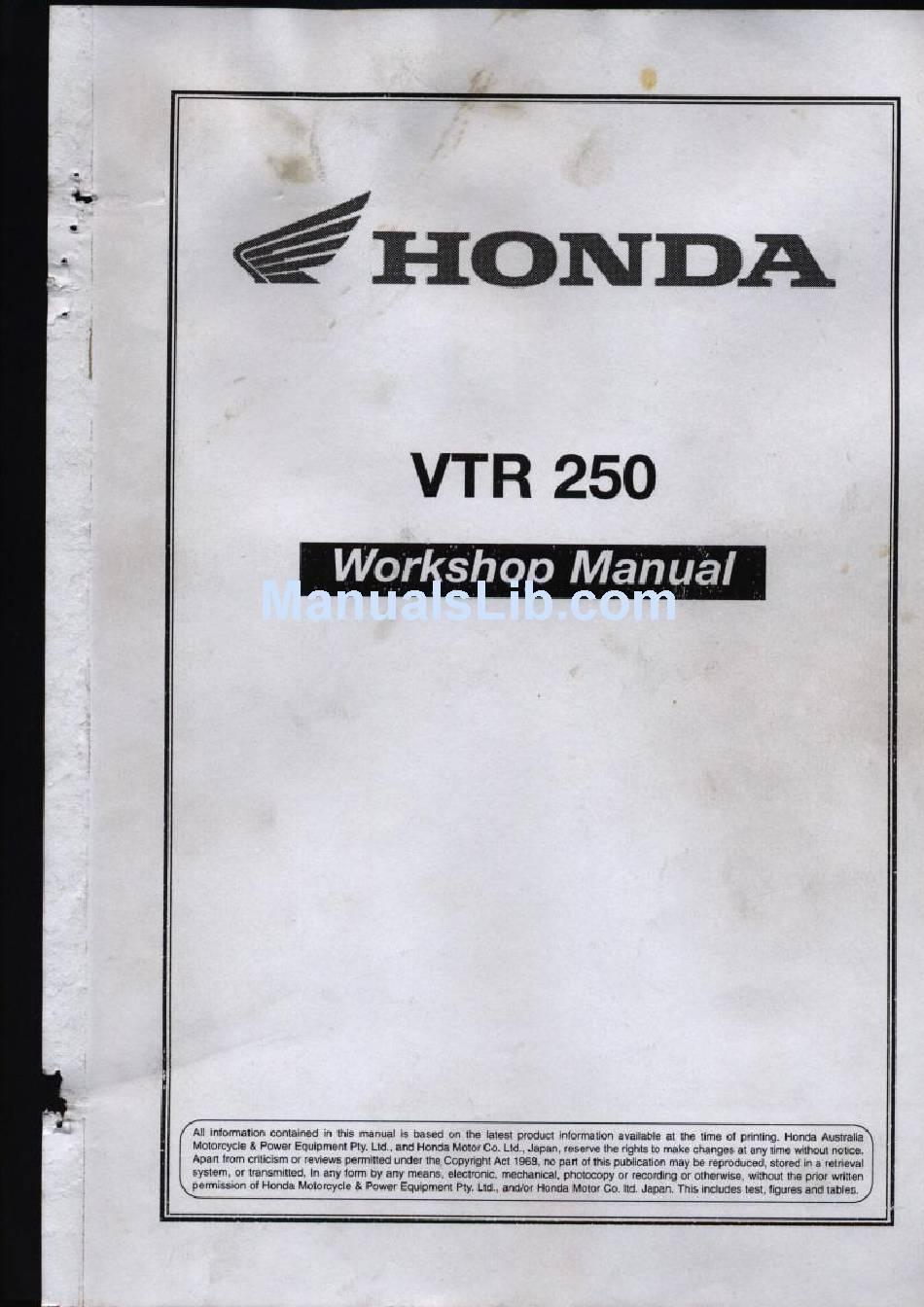 HONDA VTR 250 WORKSHOP MANUAL Pdf Download | ManualsLibManualsLib