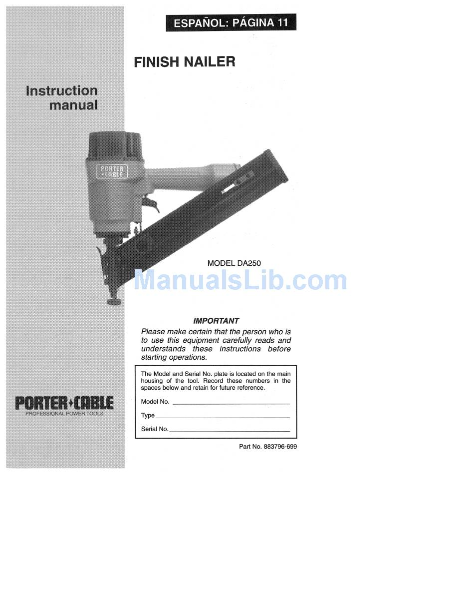 Porter Cable Da250 Instruction Manual Pdf Download Manualslib