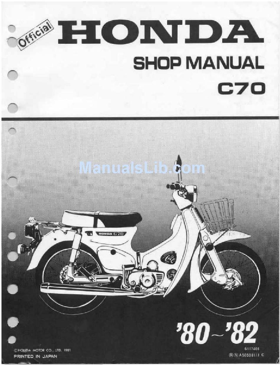 Honda C70 Shop Manual Pdf Download Manualslib