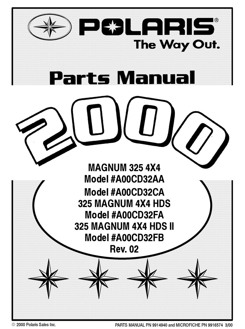 Polaris 325 Magnum 4x4 Hds A00cd32fa Parts Manual Pdf Download Manualslib