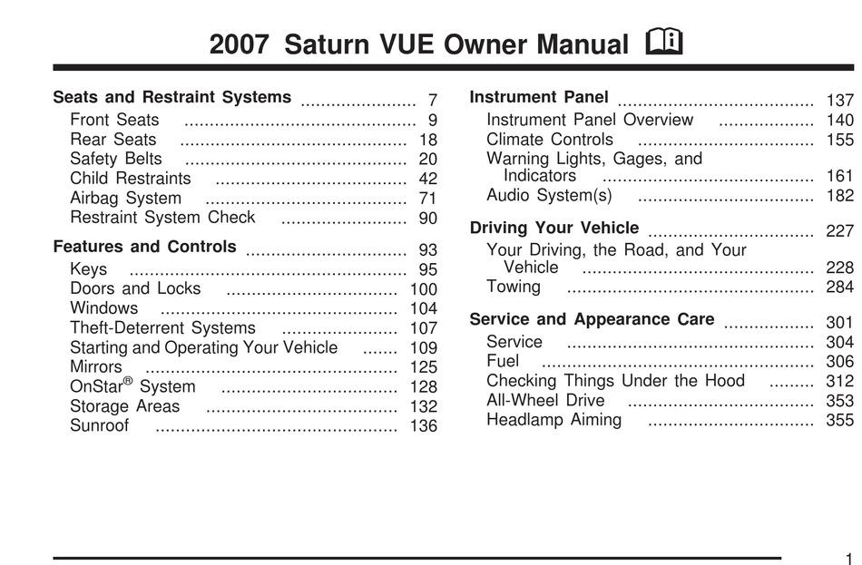 saturn 2007 vue owner's manual pdf download | manualslib  manualslib