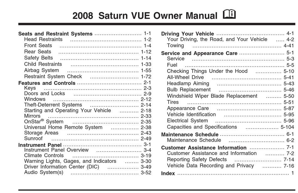 Saturn 2008 Vue Owner S Manual Pdf Download Manualslib