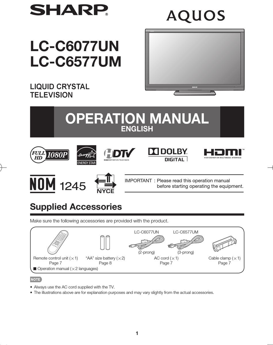 sharp aquos lc c6077un operation manual pdf download manualslib sharp aquos lc c6077un operation manual