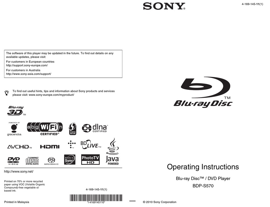 Sony Bdp S570 Operating Instructions Manual Pdf Download Manualslib