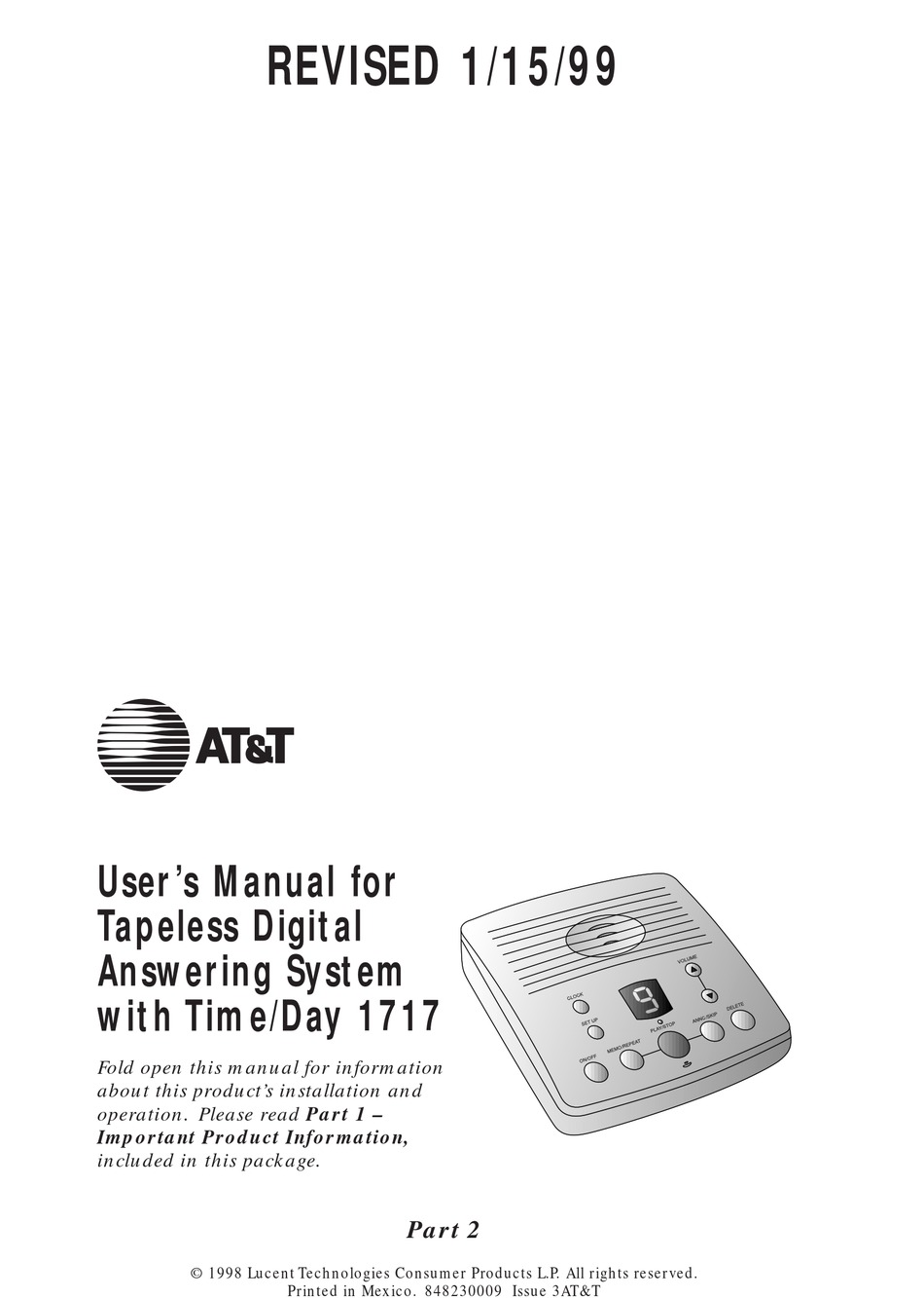AT/&T 1717 Digital Answering System