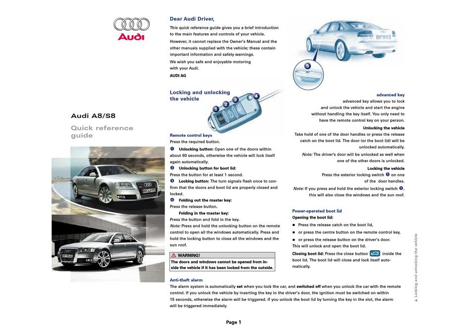 Audi A8 Quick Reference Manual Pdf Download Manualslib