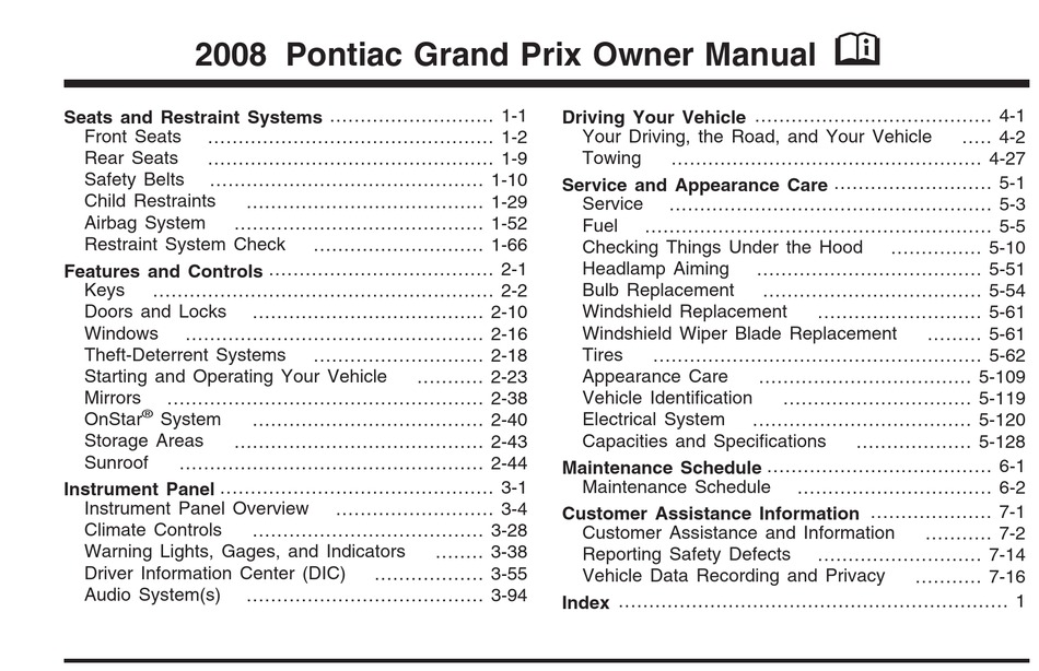 Pontiac 2008 Grand Prix Owner S Manual Pdf Download Manualslib