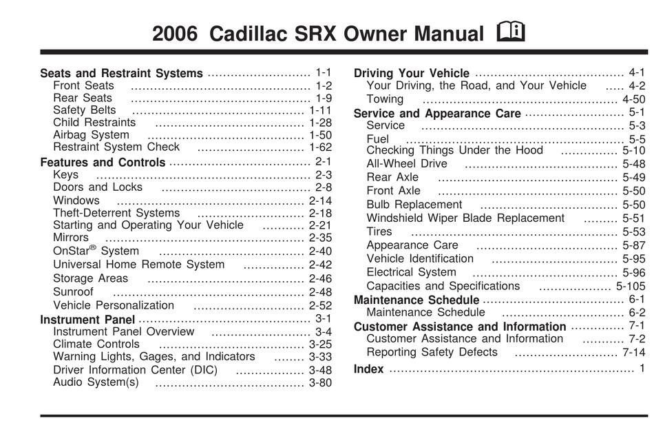 Cadillac 2006 Srx Owner S Manual Pdf Download Manualslib