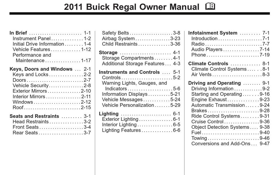 Buick Regal 2011 Owner S Manual Pdf Download Manualslib