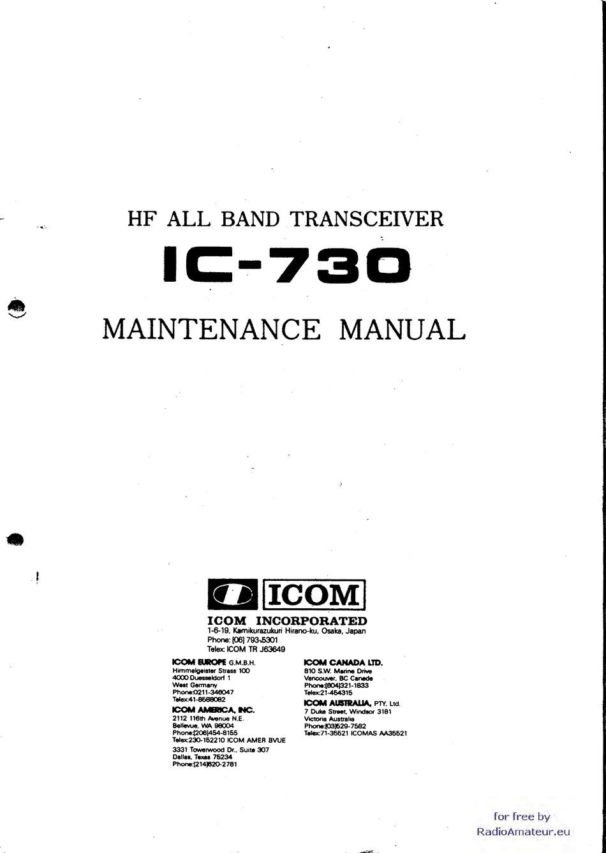 Icom Ic 730 Maintenance Manual Pdf Download Manualslib