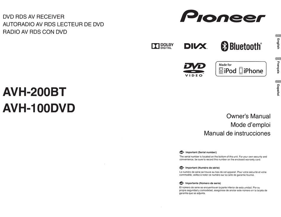 pioneer avh200bt owner's manual pdf download  manualslib