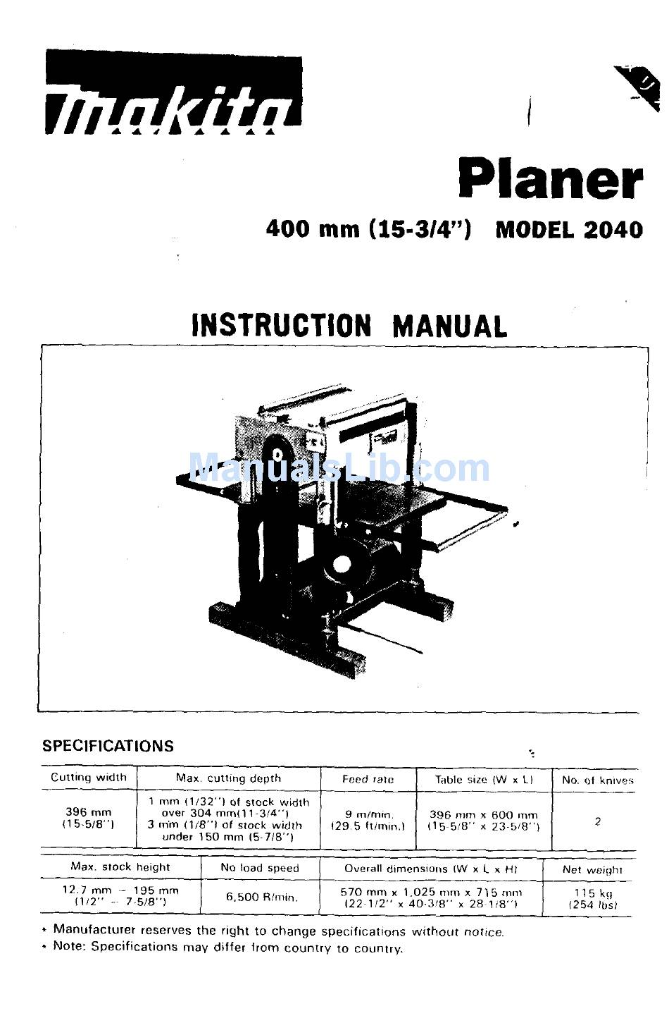 Makita Planer 2040 Instruction Manual Pdf Download