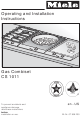 Miele GAS COMBISET CS 1011 Operating And Installation Instructions