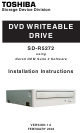 Toshiba SD-R5272 Installation Instructions Manual