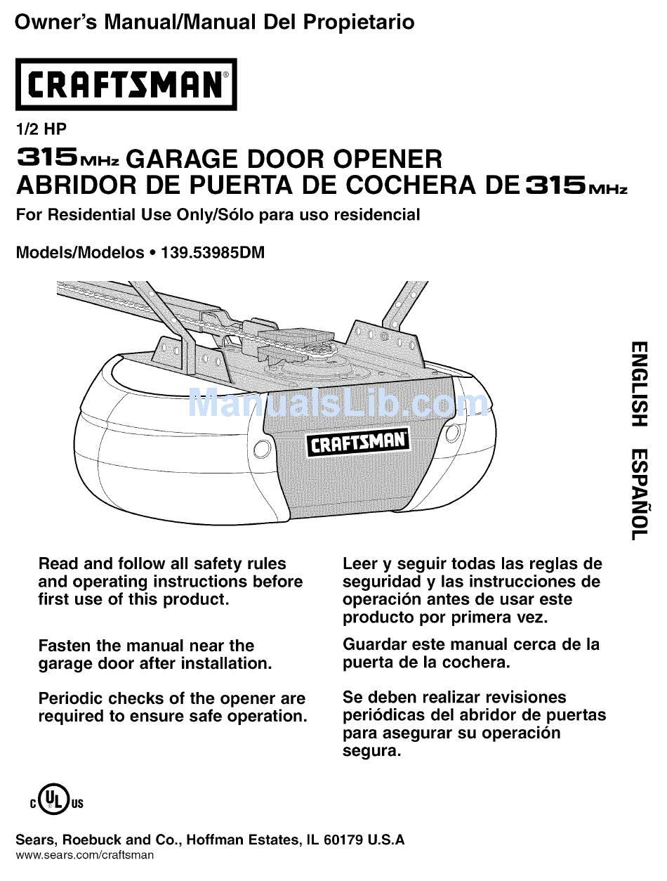Craftsman Garage Door Opener Owner S Manual Pdf Download Manualslib