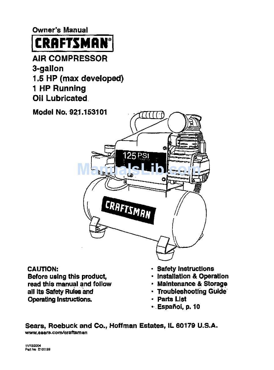 Craftsman 921 153101 Owner S Manual Pdf Download Manualslib