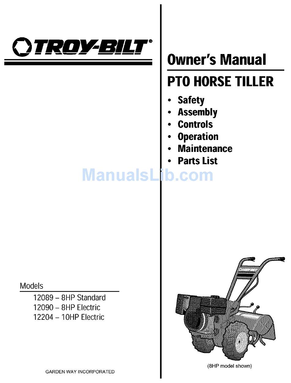 Troy Bilt 12090 Owner S Manual Pdf Download Manualslib