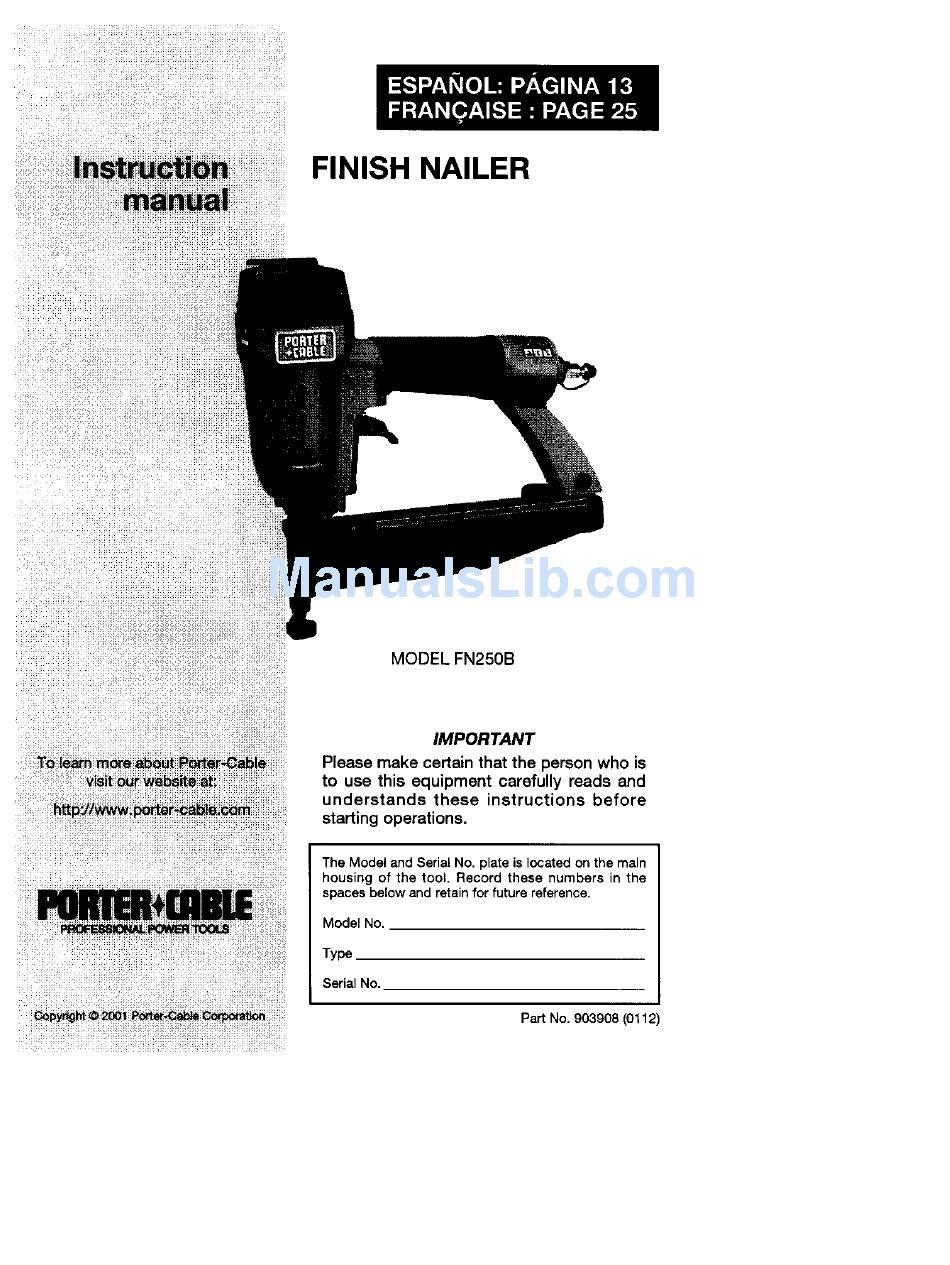 Porter Cable Fn250b Instruction Manual Pdf Download Manualslib