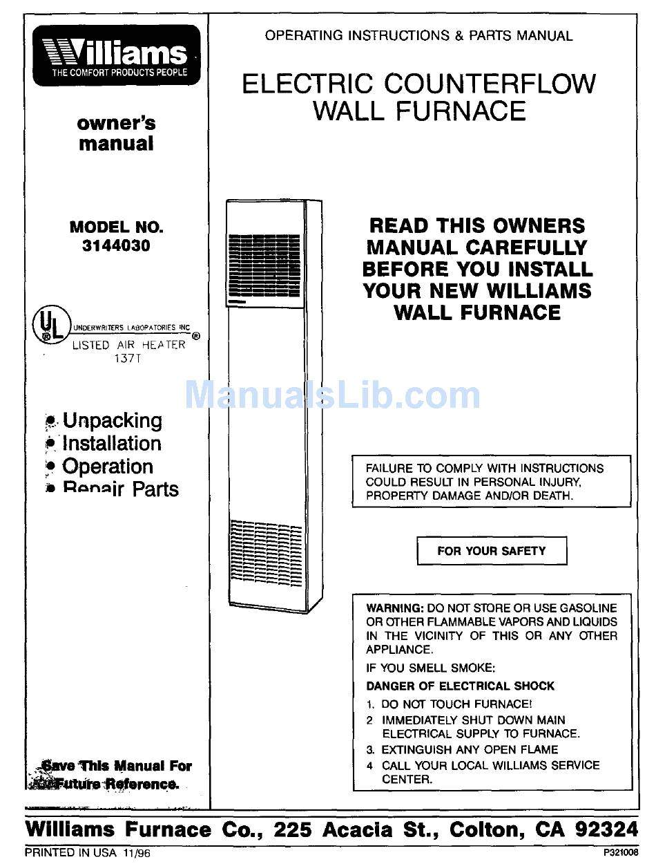 WILLIAMS 3144030 OWNER'S MANUAL Pdf Download | ManualsLibManualsLib