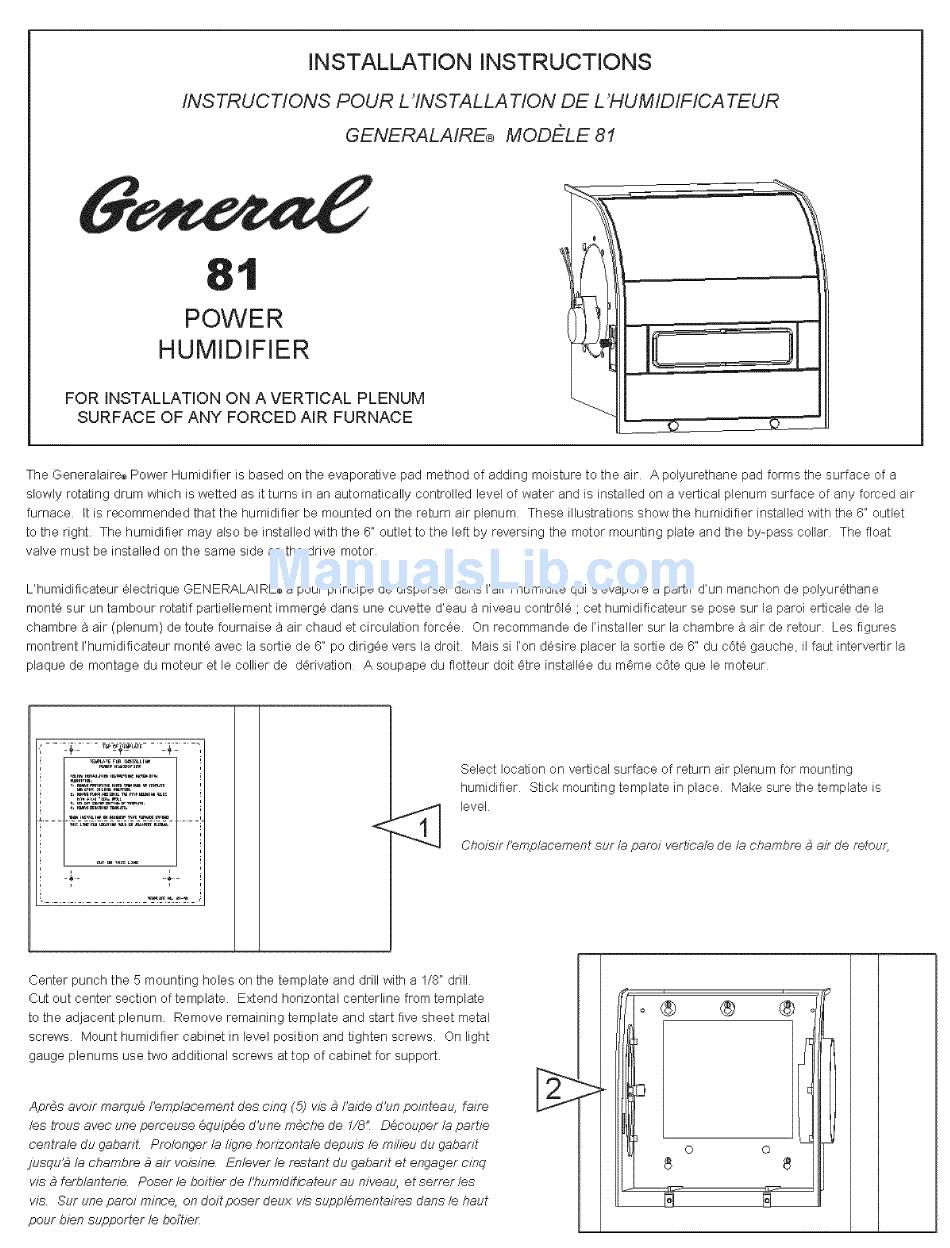 GENERALAIRE GENERAL 81 INSTALLATION INSTRUCTIONS Pdf Download | ManualsLibManualsLib