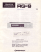 Pioneer RG-9 Operating Instructions Manual