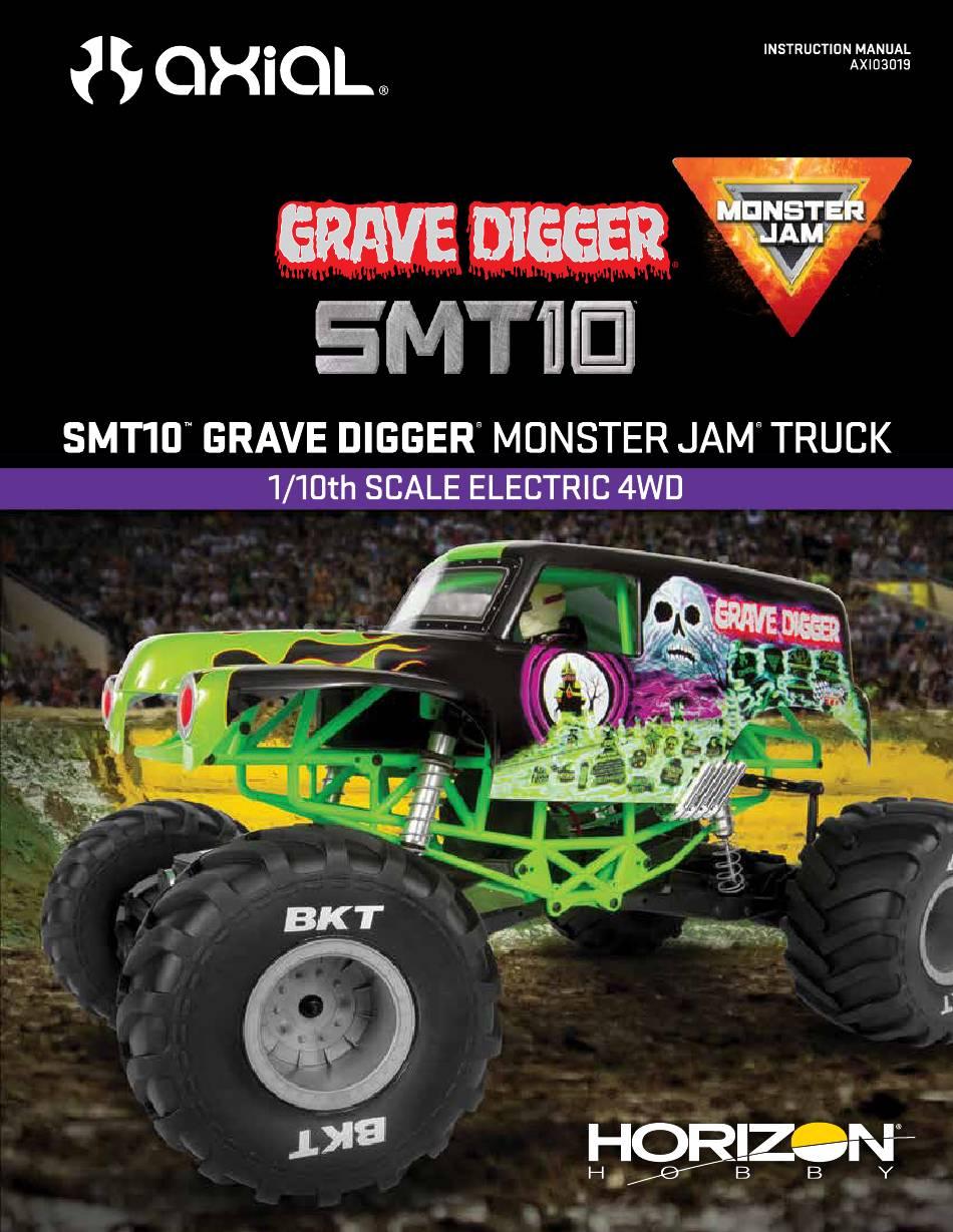 AXIAL GRAVE DIGGER MONSTER JAM TRUCK SMT10 INSTRUCTION ...